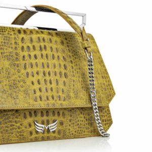 Geanta premium, realizata din piele aligator, Maestoso Yellow Alligator Large Osmium Bag