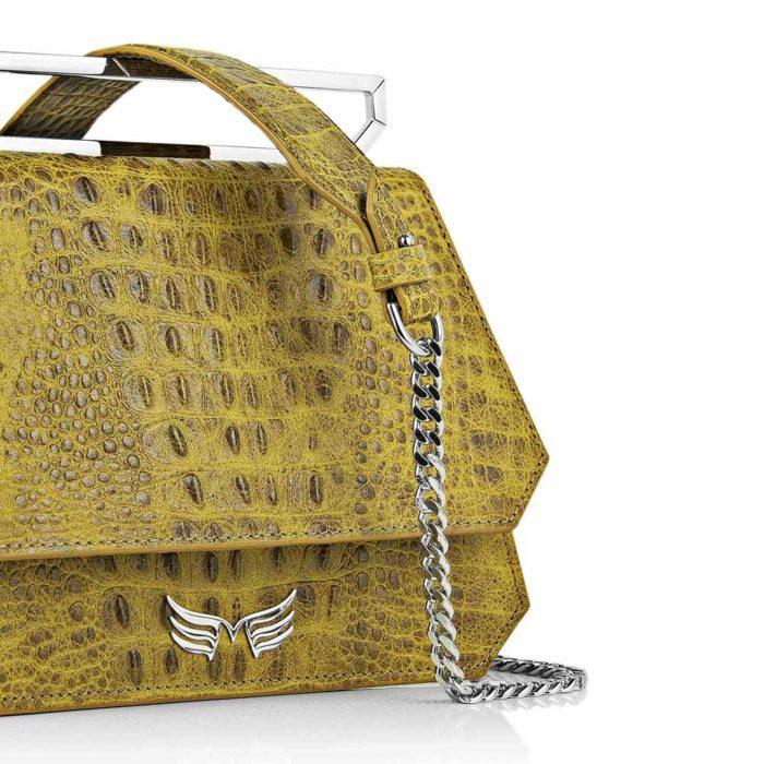Geanta premium, realizata din piele aligator, Maestoso Yellow Alligator Osmium Bag