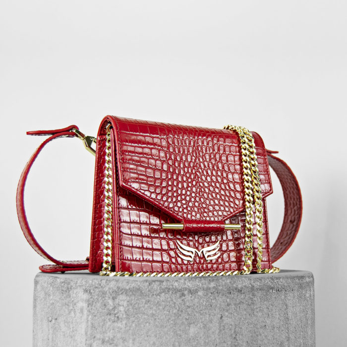 Geanta si borseta din piele naturala cu presaj sarpe, culoarea rosu Maestoso Mini + Waist Bag Red Croco