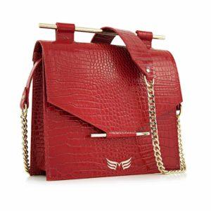 Maestoso Red Croco Square Bag