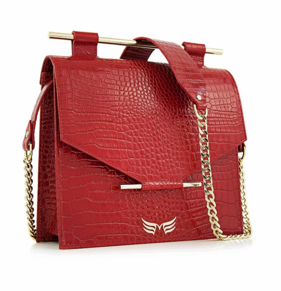 Maestoso Red Croco Square Bag