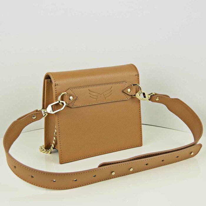Borseta din piele naturala, culoarea camel, Maestoso Waist + Mini Bag Camel