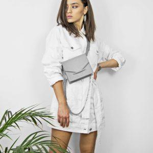 Borseta din piele naturala, culoarea gri, Maestoso Waist + Mini Bag Grey