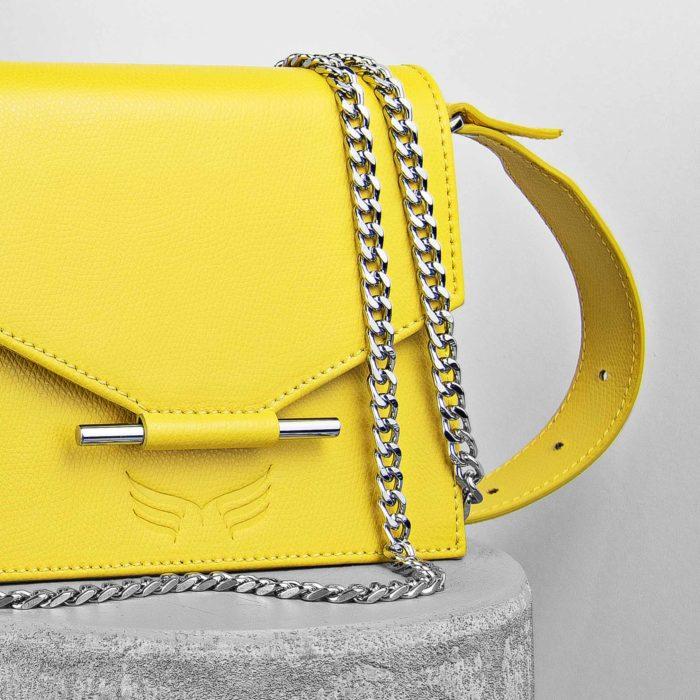 Borseta din piele naturala, culoarea galben, Maestoso Waist + Mini Bag Yellow