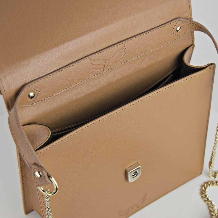 Geanta din piele naturala, culoarea camel Maestoso Camel Square Bag