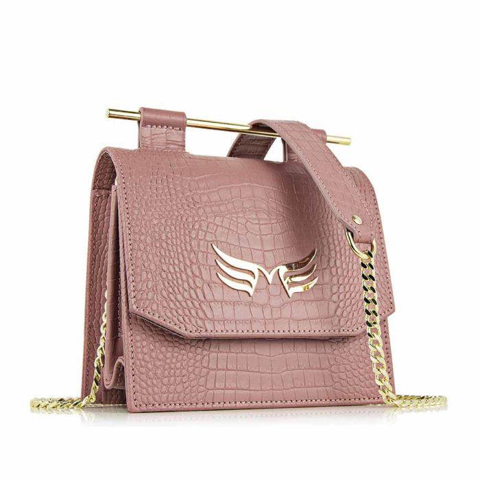 Geanta din piele naturala, culoarea roz prafuit cu textura croco Maestoso Dusty Pink Croco Sparrow Bag