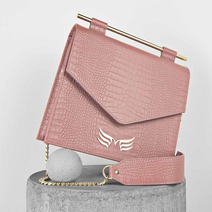 Geanta din piele naturala, culoarea roz prafuit cu textura croco Maestoso Dusty Pink Croco Square Bag