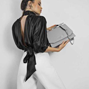 Geanta din piele naturala, culoarea gri, Maestoso Grey Skylark Queen