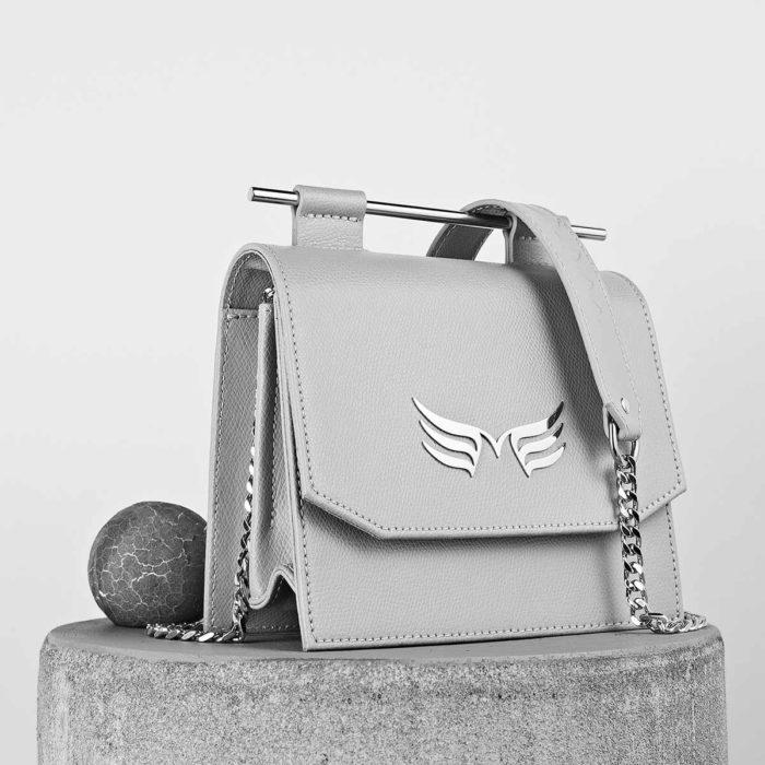 Geanta din piele naturala, culoarea gri, Maestoso Grey Sparrow Bag