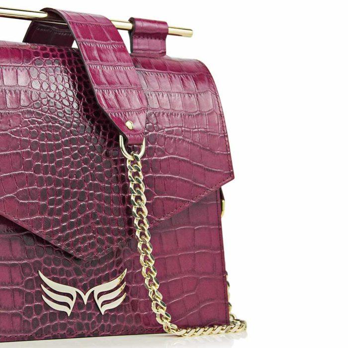 Geanta din piele naturala, culoarea magenta, Maestoso Magenta Croco Square II Bag