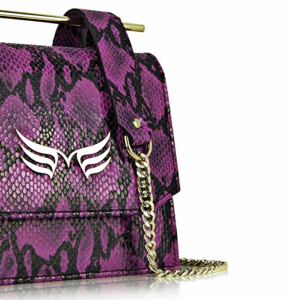 Geanta din piele naturala cu presaj sarpe, culoarea magenta, Geanta piele naturala Maestoso Magenta Snake Sparrow Bag