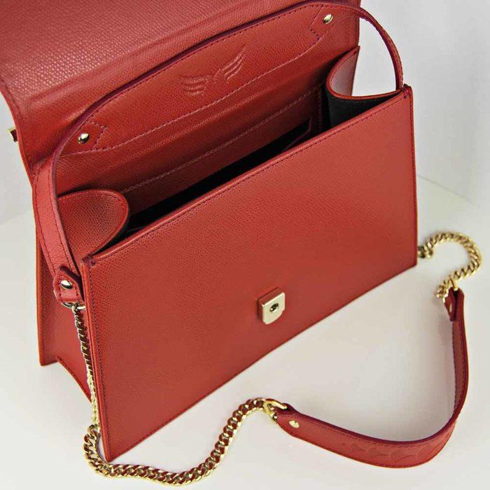 Geanta din piele naturala, culoarea rosu, Maestoso Red Skylark Queen