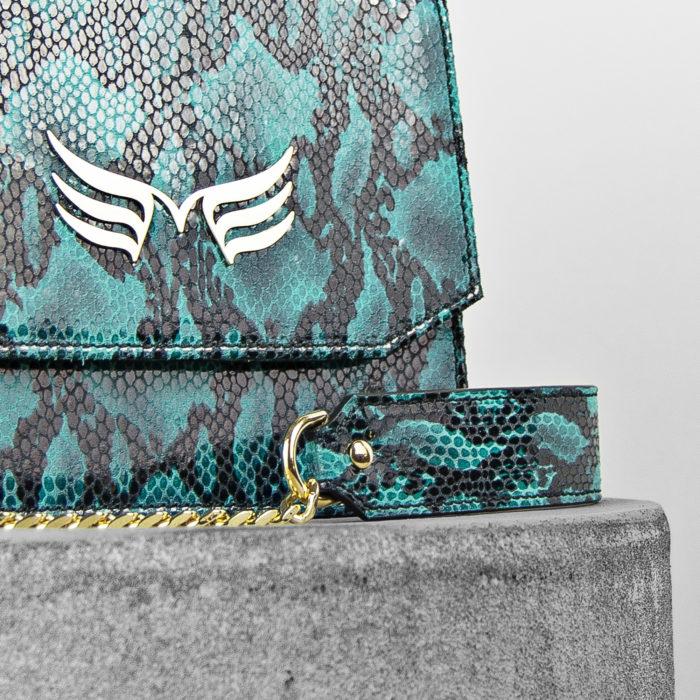 Geanta din piele naturala, cu textura sarpe, culoarea turquoise Maestoso Turquoise Snake Sparrow Bag