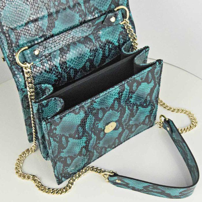 Geanta din piele naturala cu presaj sarpe, culoarea turcoaz, Geanta piele naturala Maestoso Turquoise Snake Sparrow Bag
