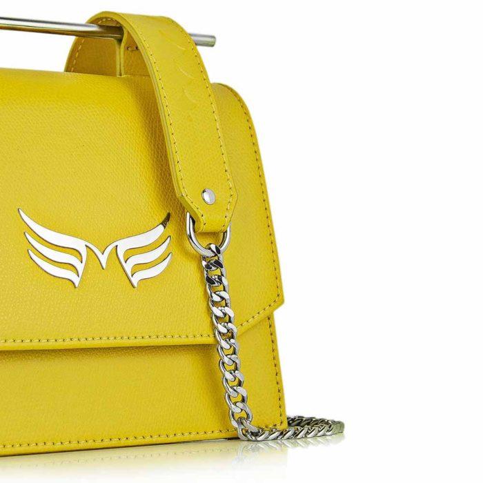 Geamta din piele naturala, culoarea galben, Maestoso Yellow Sparrow Bag