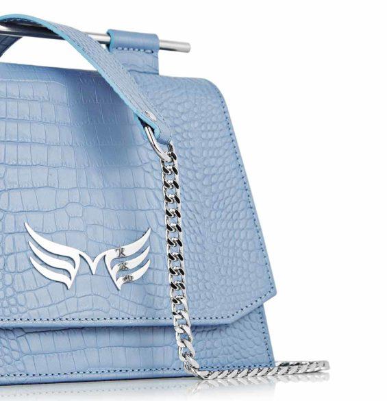 Geanta din piele naturala, culoarea blue croco Maestoso Blue Sky Croco Mini Skylark Queen
