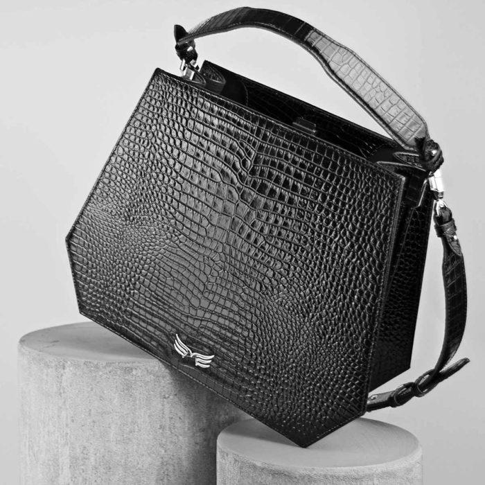 Geanta office din piele naturala, culoarea negru croco Maestoso Black Croco Rem