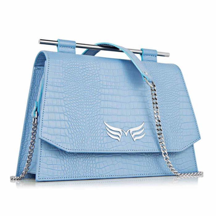 Geanta din piele naturala, culoarea albastru, Maestoso Blue Sky Croco Skylark Queen