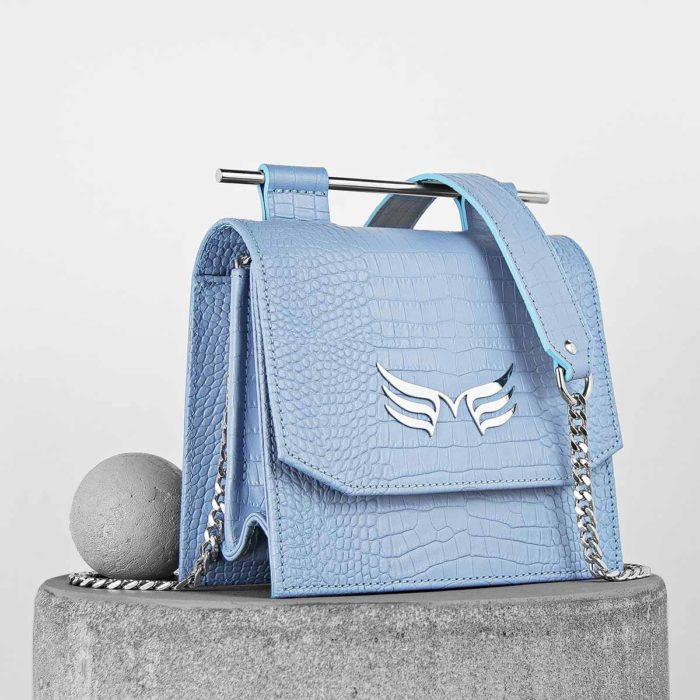 Geanta mini din piele naturala, culoarea bleu Maestoso Blue Sky Croco Sparrow Bag