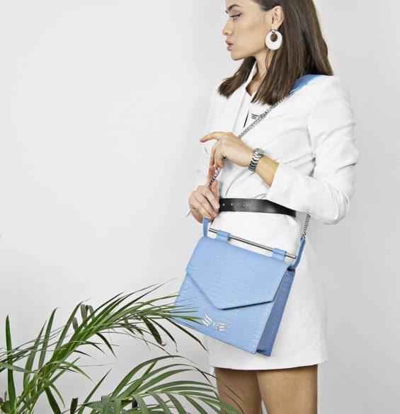Geanta din piele naturala, culoarea albastru, Maestoso Blue Sky Croco Square II Bag
