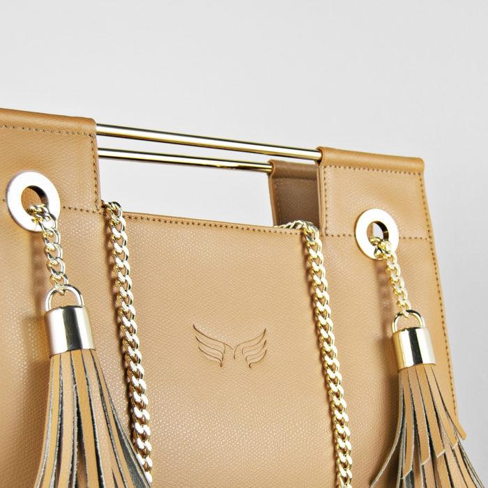 Geanta din piele naturala, culoarea camel, Maestoso Camel Fringe Clutch