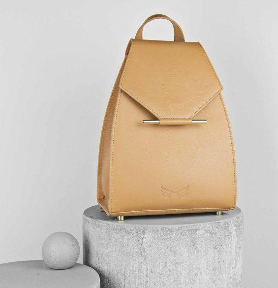 Rucsac mini din piele naturala, culoarea camel, Maestoso Camel Mini Backpack