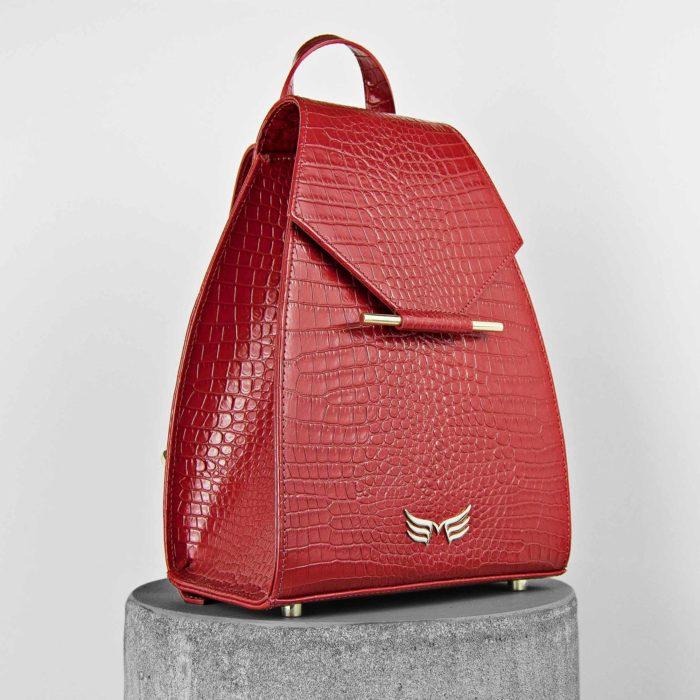 Rucsac mini din piele naturala, rosu cu presaj croco, Maestoso Red Croco Mini Backpack