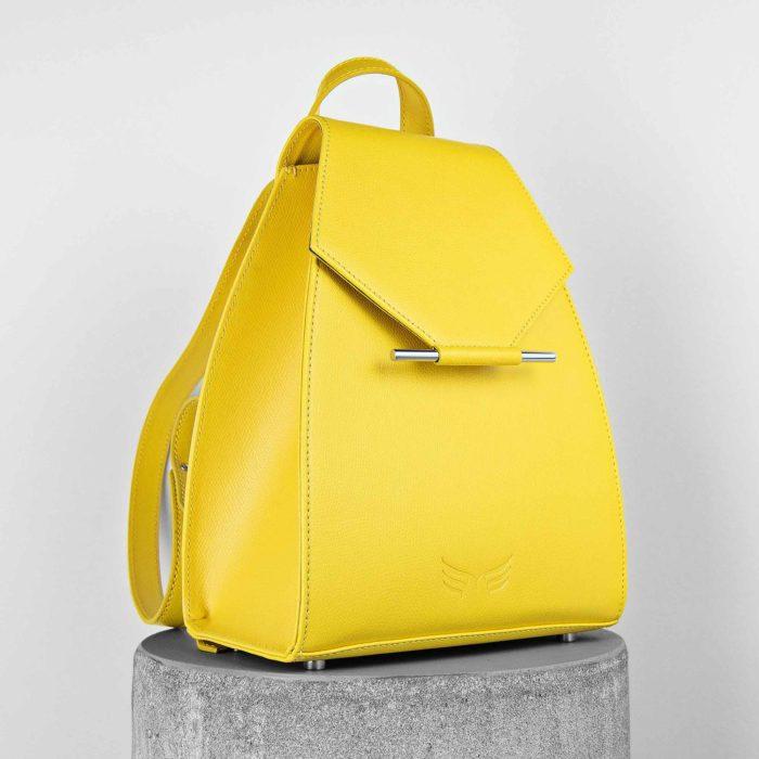 Rucsac mini din piele naturala, culoarea galben, Maestoso Yellow Mini Backpack