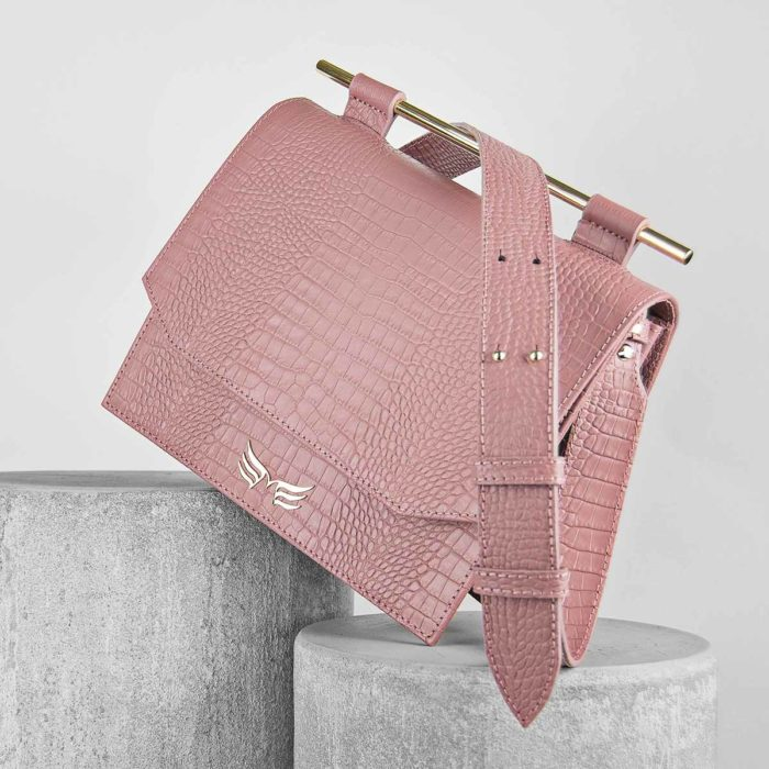 Geanta din piele naturala, culoarea roz croco Maestoso Dusty Pink Croco Moneo