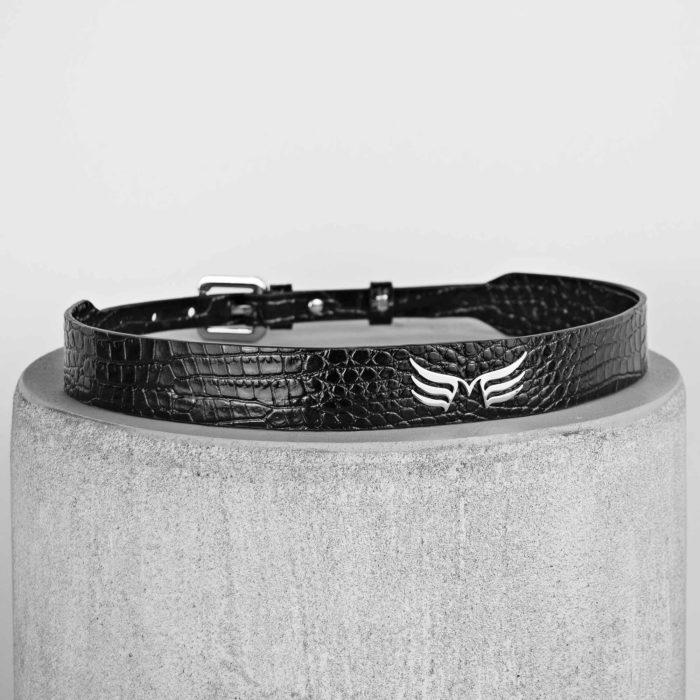Curea din piele naturala negru croco Maestoso Black Croco Wings Belts