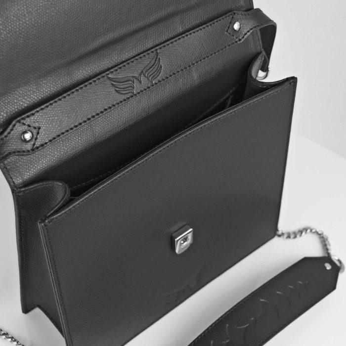 Geanta din piele naturala, culoarea negru Maestoso Black Square Bag