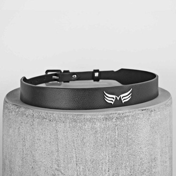 Curea din piele naturala neagra Maestoso Black Wings Belts
