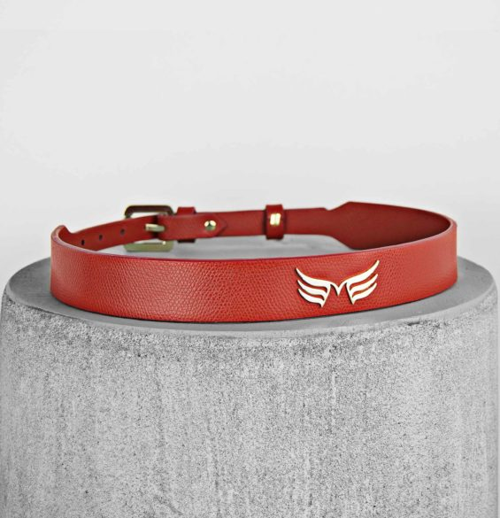 Curea din piele naturala rosie Maestoso Red Wings Belts