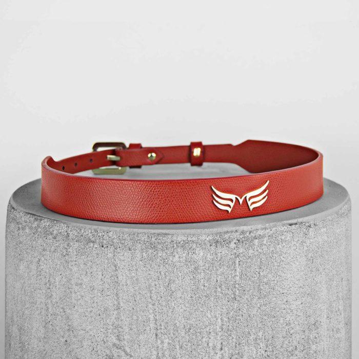 Curea din piele naturala rosie Maestoso Red Wings Belts
